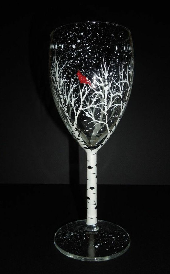 attractive champagne glass decorated-as-Birch
