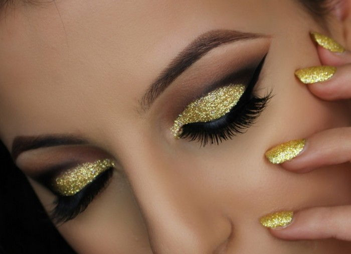 eye make-up instructions and gold eyeshadow Eyelashes Eyeliner Pencils-nails-in-golden-color
