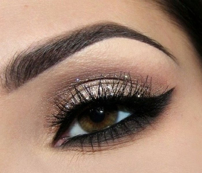eye makeup and elegant-and-discreet makeup-for-special-occasions-black-and-golden-brown-eyes