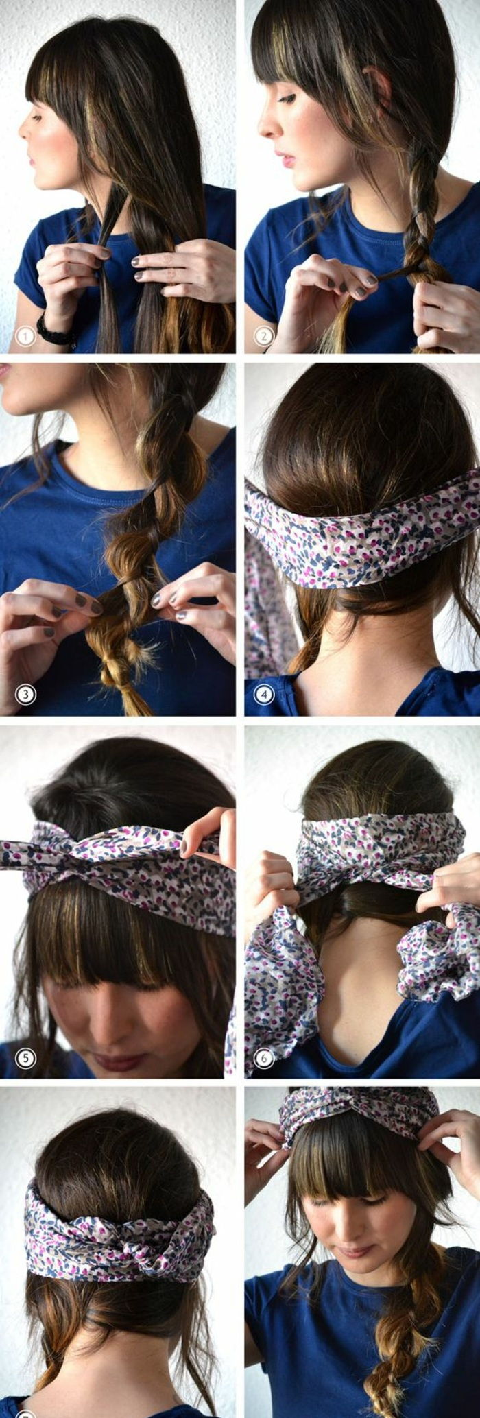 hairstyles with hairband to make yourself, blue t-shirt, hairstyle with braid