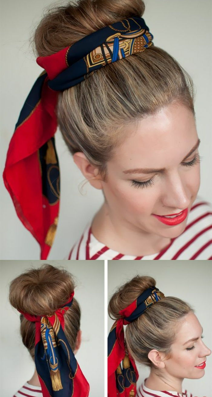 dutt hairstyle, blonde hair pinning, red lipstick, striped blouse