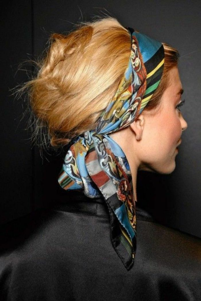 bandana hairstyles - lady with blond hair and updo with hair towel