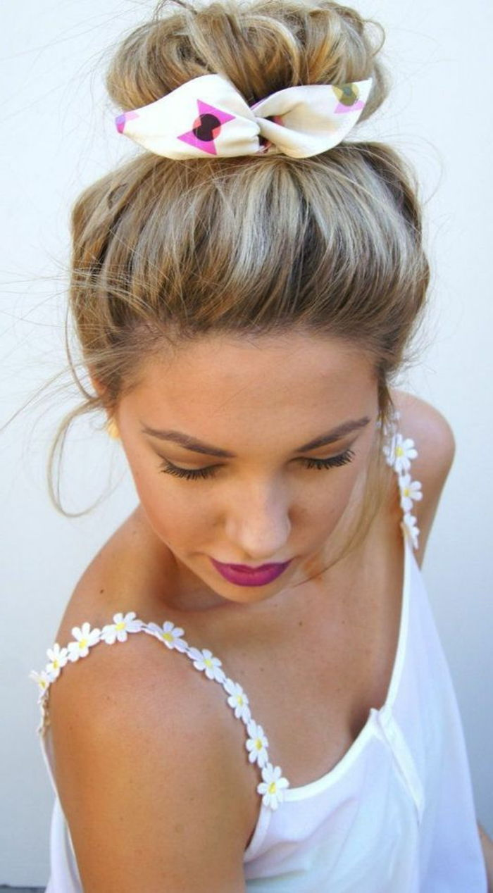 white blouse, blonde hair, updo with hair towel