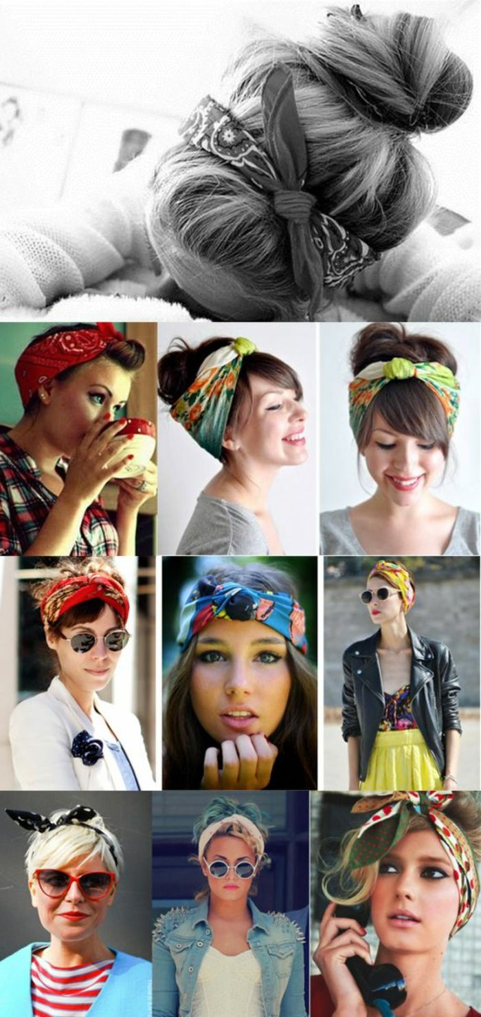Everyday hairstyles, high-set hair, updos with bandana