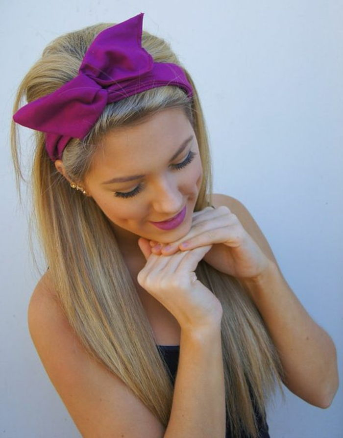 lady with long, smooth. blond hair and purple bandana