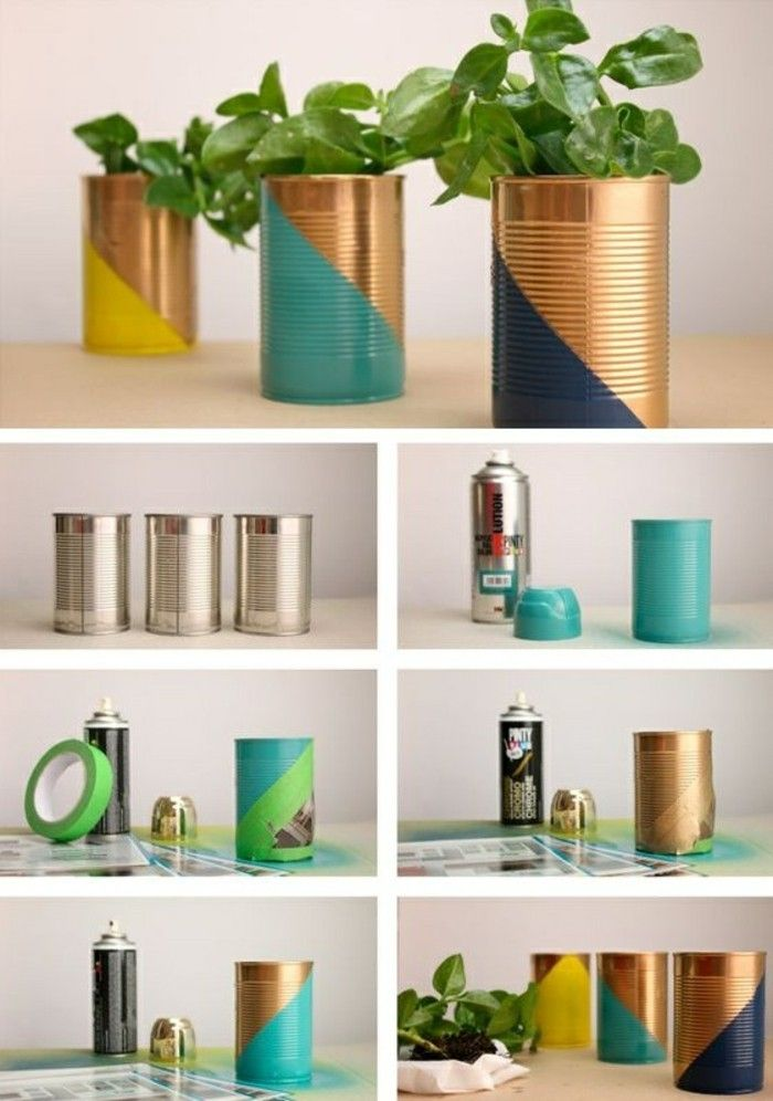 tinker-with-cans-paint-spray-flower pot-green-plant-diy