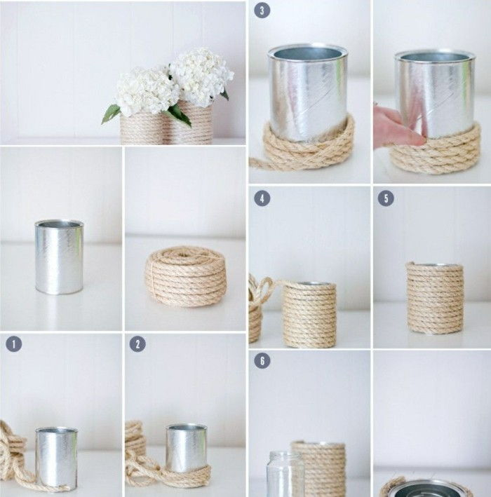 tinker-with-can-and-white-flowers-rope-flowerpot-diy idea