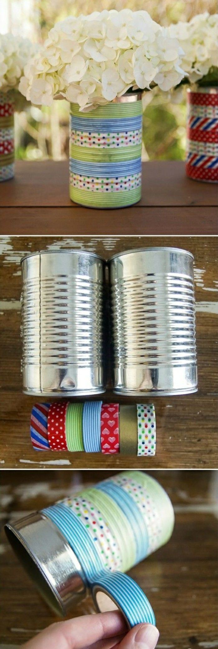 tinker-with-make-tin cans-flowerpot-washy tapes-white-flowers-yourself