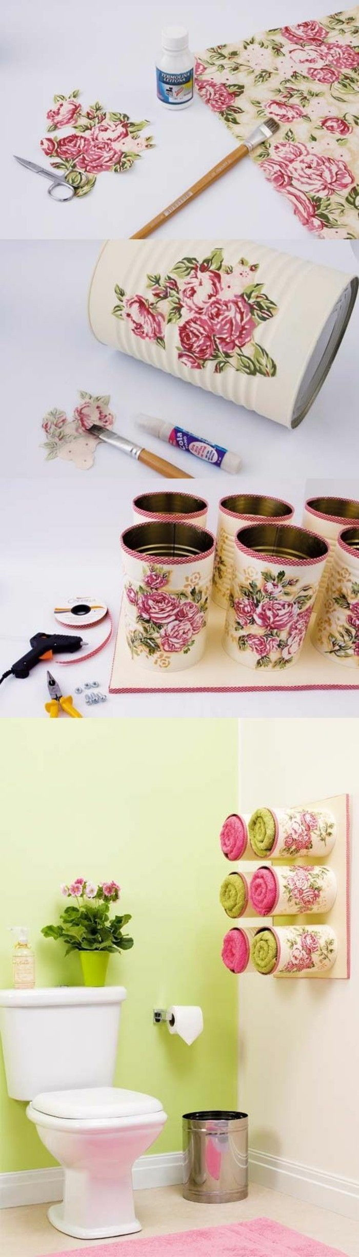 tinker-with-tin cans-big-boxes-paper-with-flowers-shelves-bathroom trash can