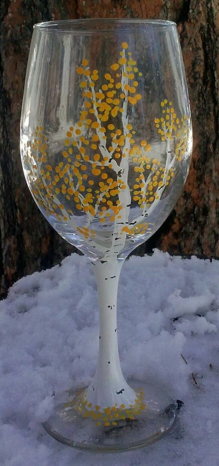 painted-as-birch-wine glass in the Snow