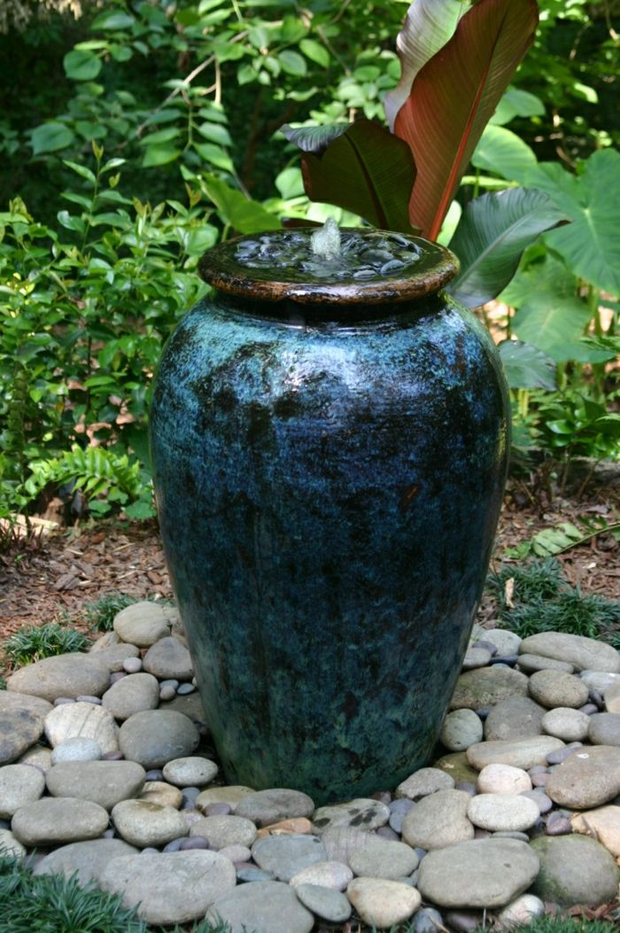 Blue Fountain without Pond decorative stones Garden