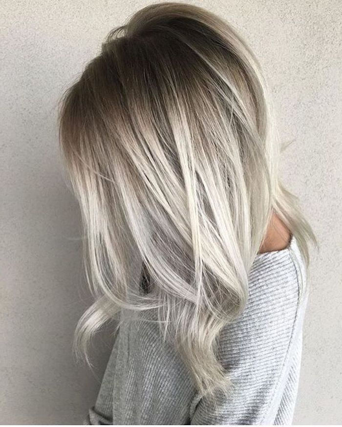 Hair gray tones - a gray blouse and beautiful ombre hair with gray and blond