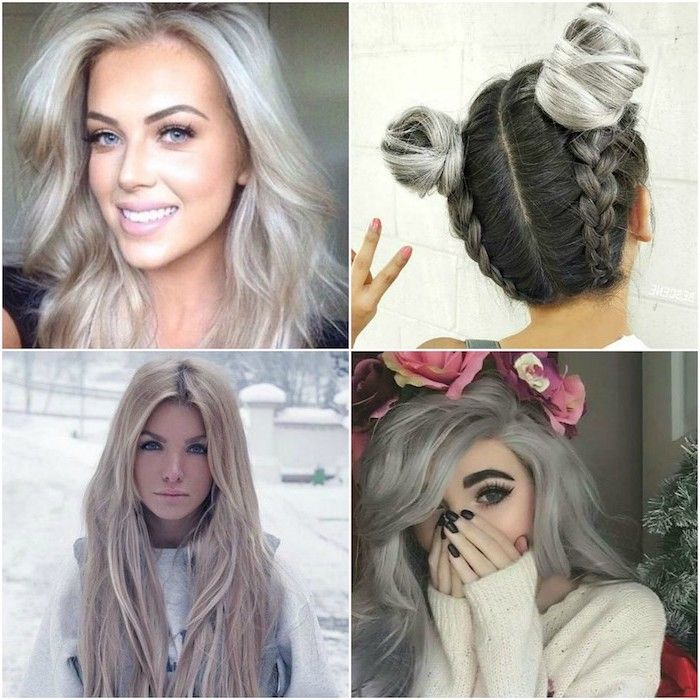 four pictures of beautiful girls with the hair color silver blond to inspire