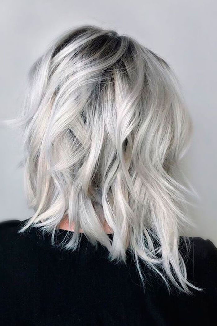 Hair Gray Tint - A short bob hairstyle contrasts with the black blouse