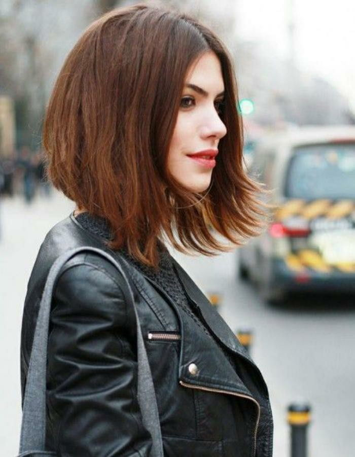 bob-haircut-and-leather jacket