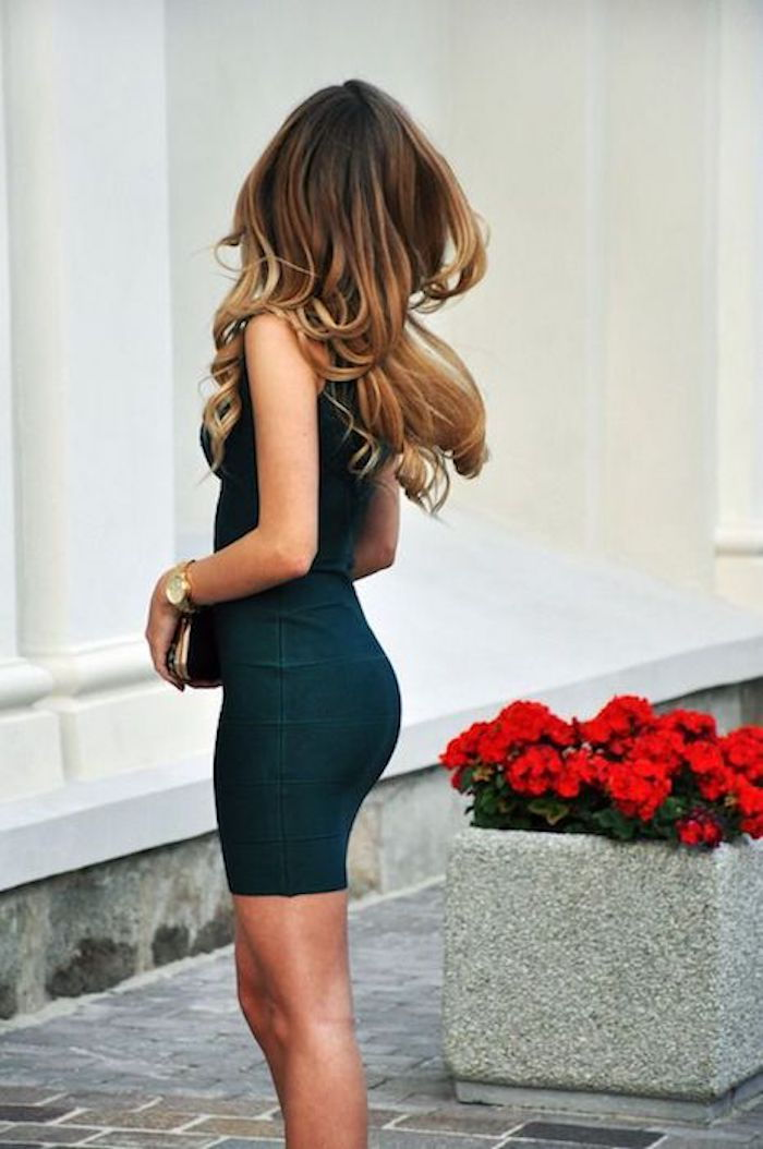 ombre hairstyles beautiful woman goes to the party a little black dress ombre hair high heel shoes