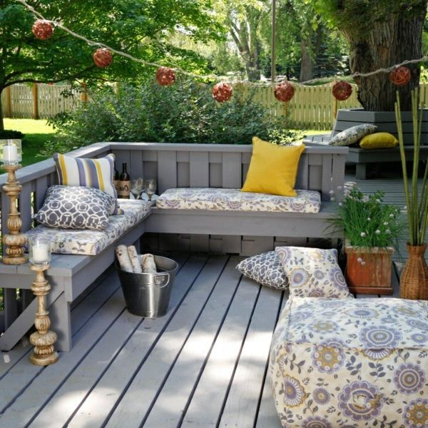 cool terrace with corner bench cushions