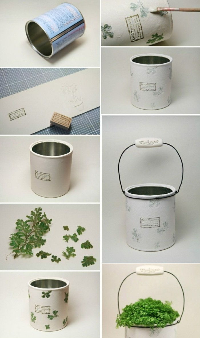 cool-things-tinker-flower pot-of-cans-green-plant-diy-white-color