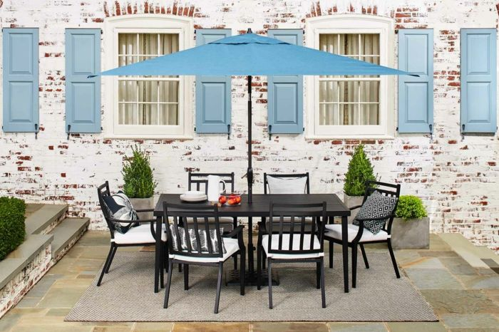 terrace design ideas large table with armchair chairs pillow blue screen window doors