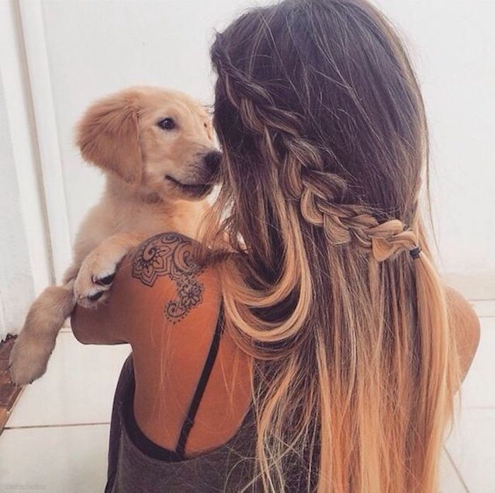 ombre medium-long hair hairstyle with braid tied woman and dog nice photo ideas
