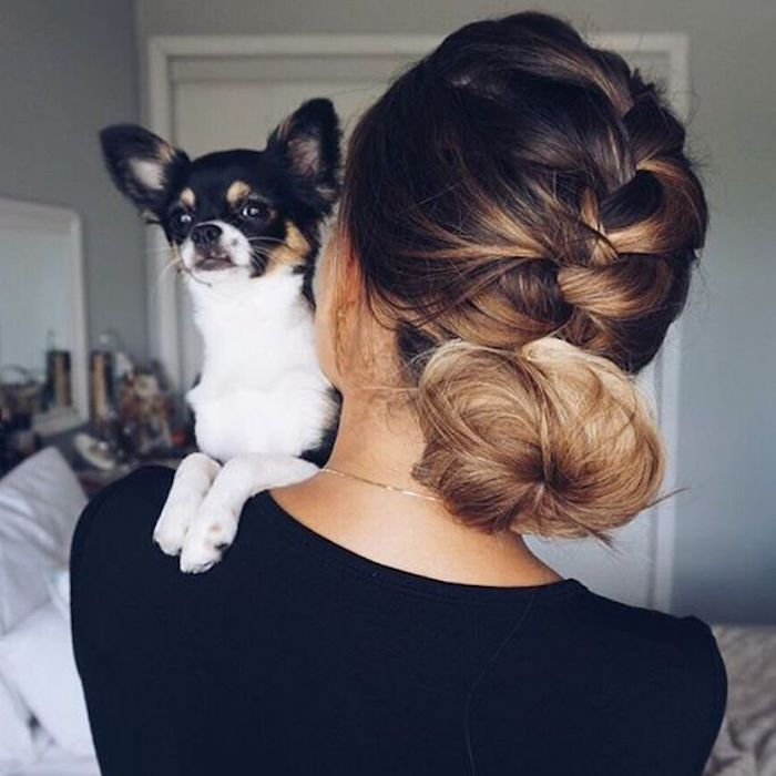ombre medium-long hair the dogs as great accessories beautiful little friend