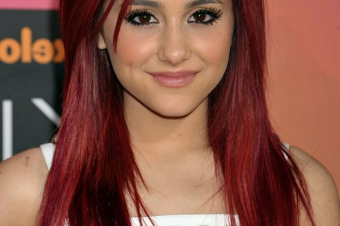 dark red-hair-ariana-grande-with-fancy-hairstyle