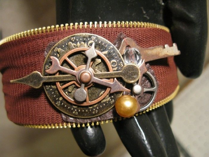 a-nice-steampunk-bracelet made of leather