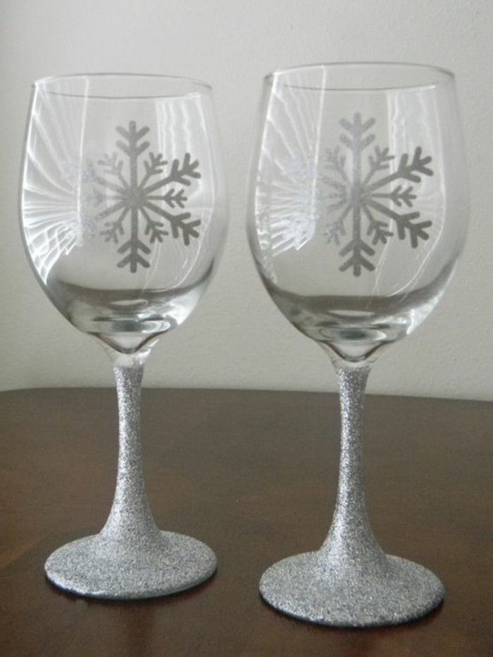 elegant red wine glasses-with-silver Decoration Glitter Snowflake shapes