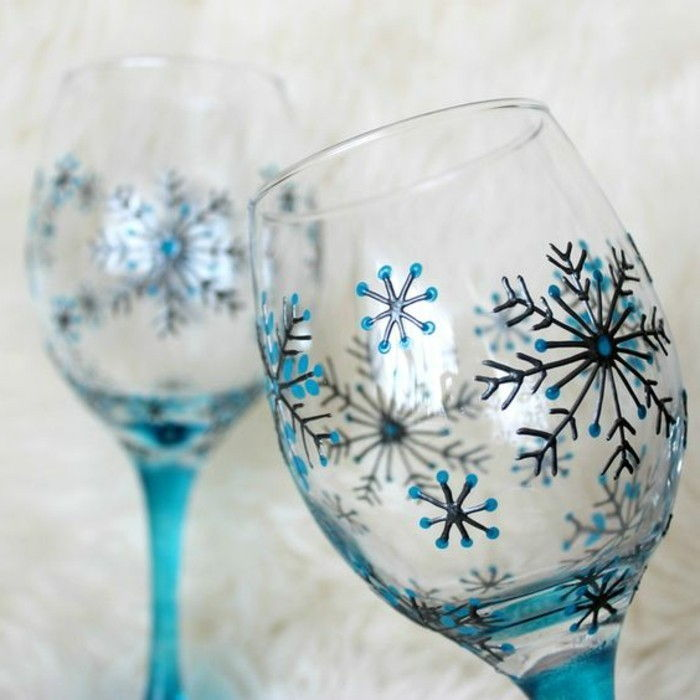 Wine Glass Decoration-fantastic hand-painted red wine glasses-with-winter motifs Snowflakes drawings