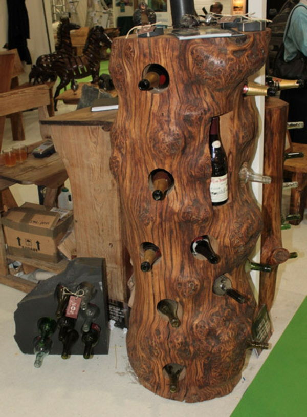 bottle rack-self-build-wood-with caves