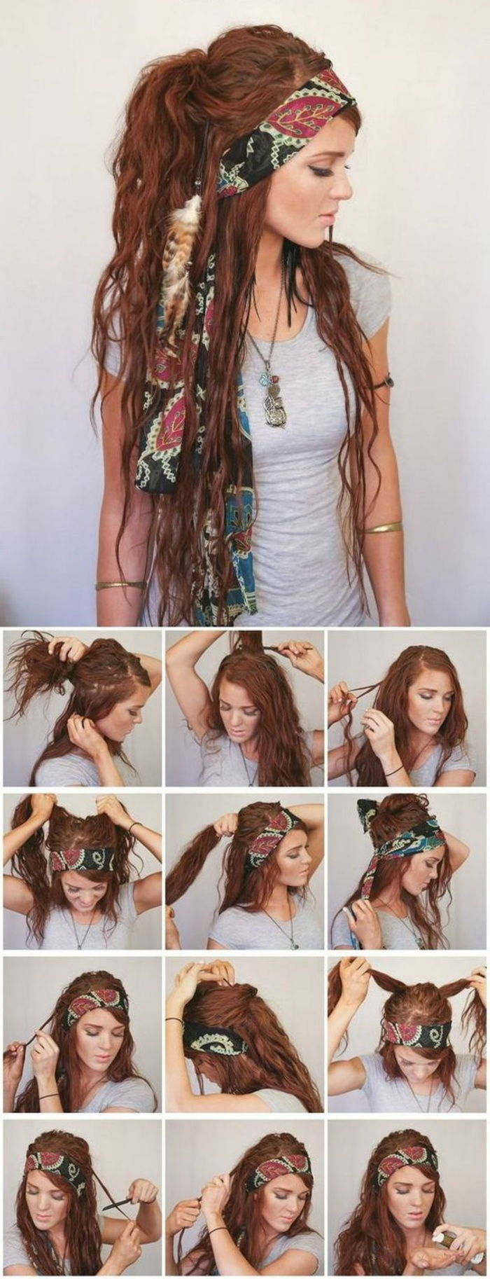 long, red hair, gray blouse, necklace, grunge hairstyle