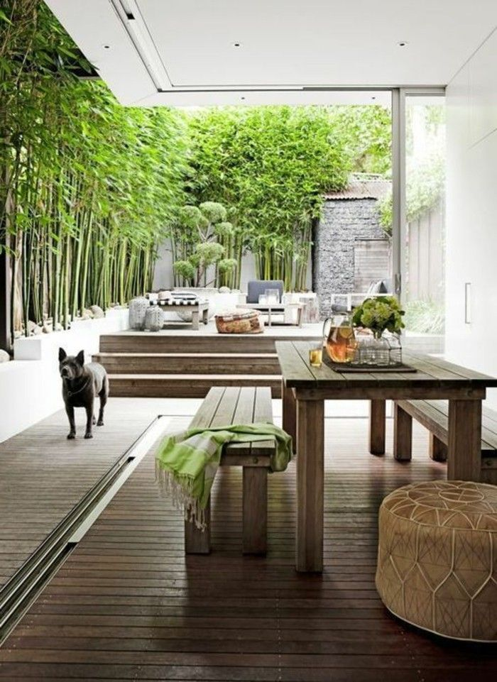 garden-ideas-with-wood-rows of seats,
