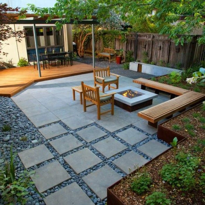 gartengestaltung-with-wood settees-hearth-and-stone