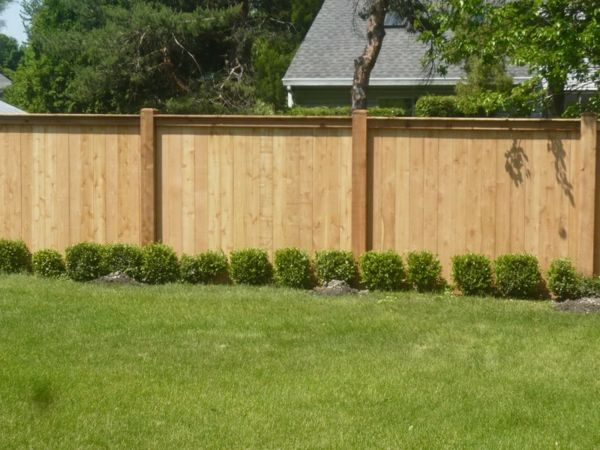 garden fences-wood-trees and grass in green