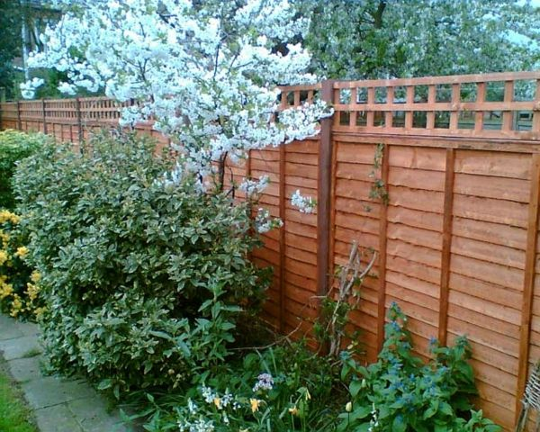garden fence-self-build- tree branches and plants