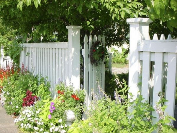 garden decoration-white- trees and green plants