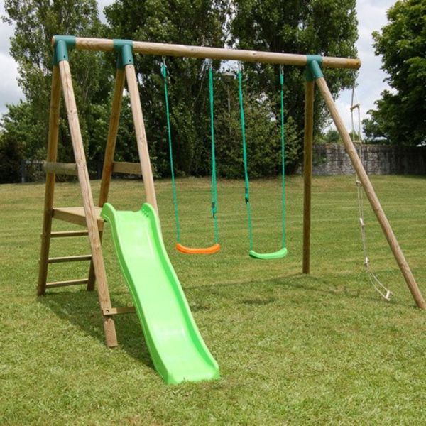 green-slide-and-two swing-for-the-garden-cool-design ideas-for-a-cool-garden