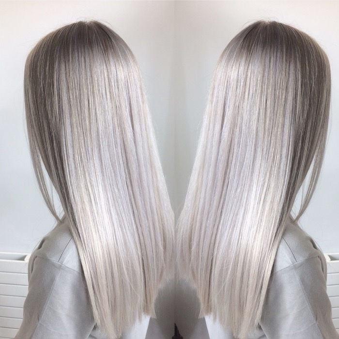 Silverblond - from two corners we see the magnificent silver blonde hair of this woman