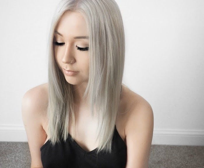 dye blonde hair gray - a girl with piercing and subtle make up