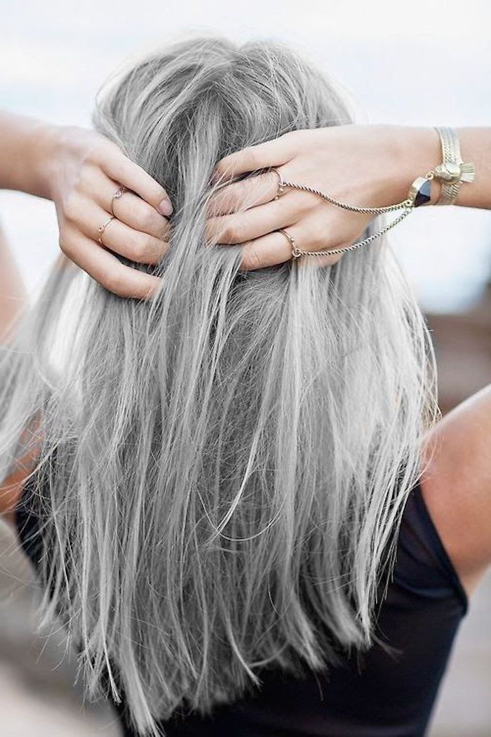 Haircolor Gray Silver - a girl with a beautiful piece of jewelry and a black blouse