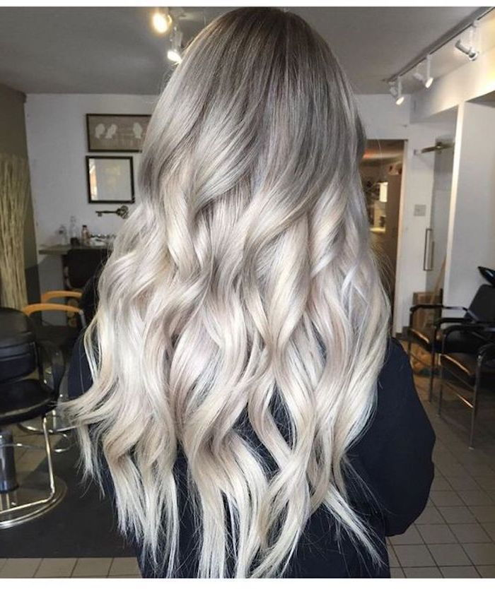 Hair color Gray Silver - a black blouse contrasts with the light hair color