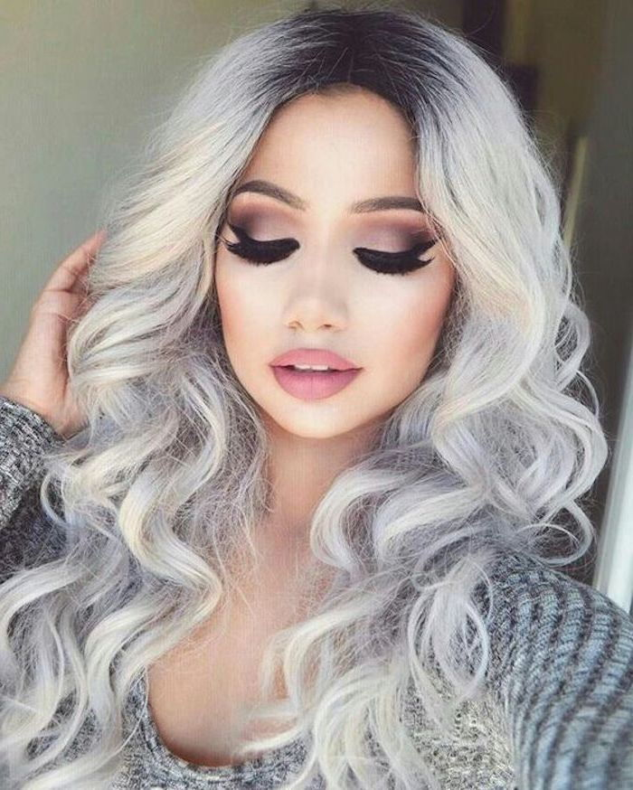 Hair color gray silver - a girl with curly hair, she has beautiful make-up