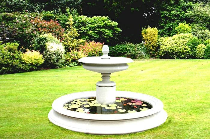 large garden water fountain leaves
