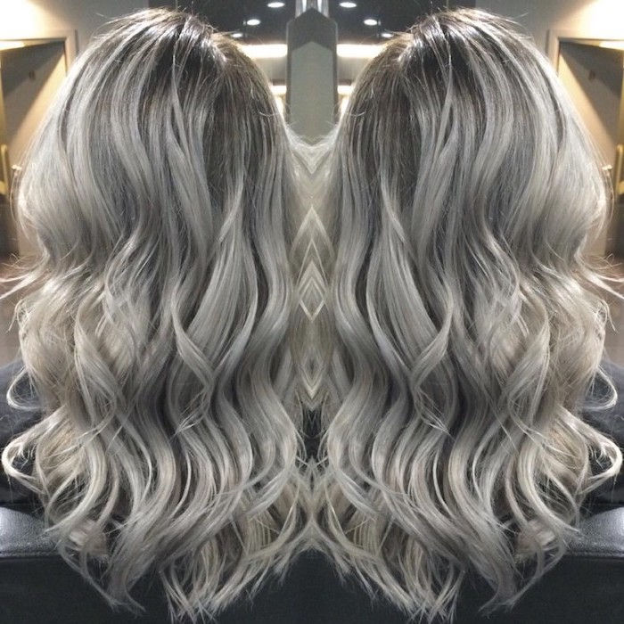 Haircolor Gray Silver - two corners of a casual curly hairstyle of long hair