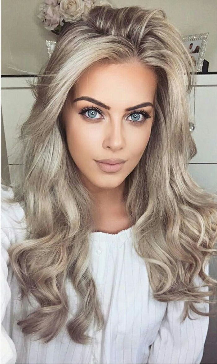 Hair gray tones - long hair, beautiful make-up, white blouse of cute girls