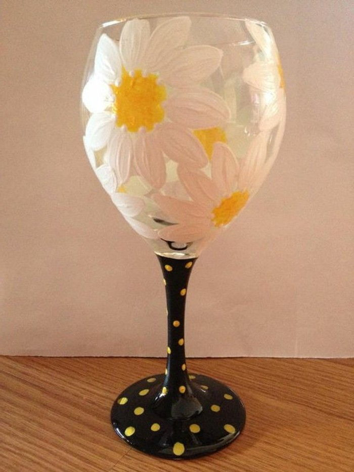 Handmade Decoration for red wine glass beautifully-painted