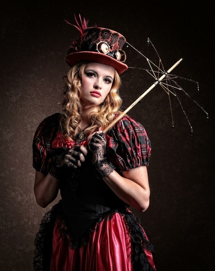 hat-and-red-dress-a-steam punk-clothing-for-the-ladies