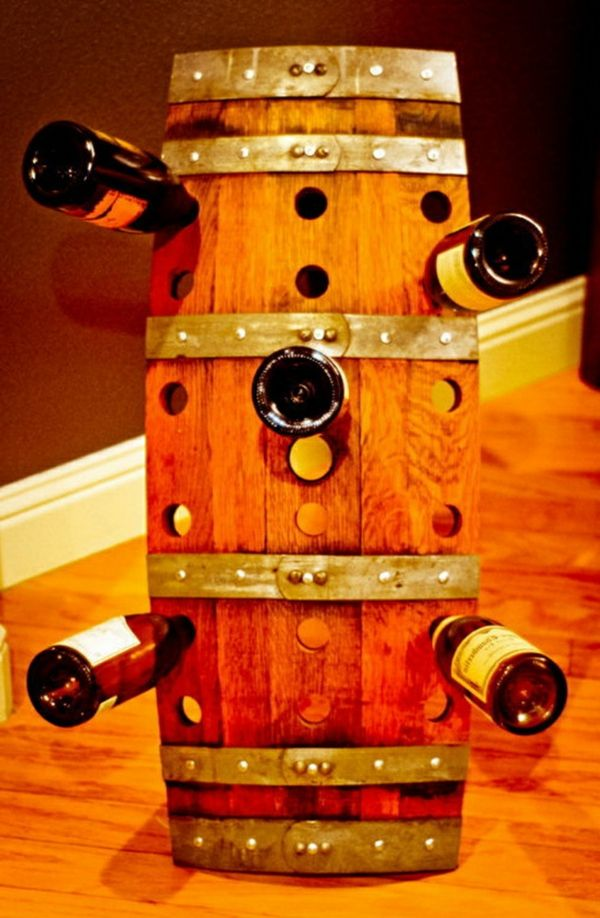 interesting design of the diy wine rack with holes
