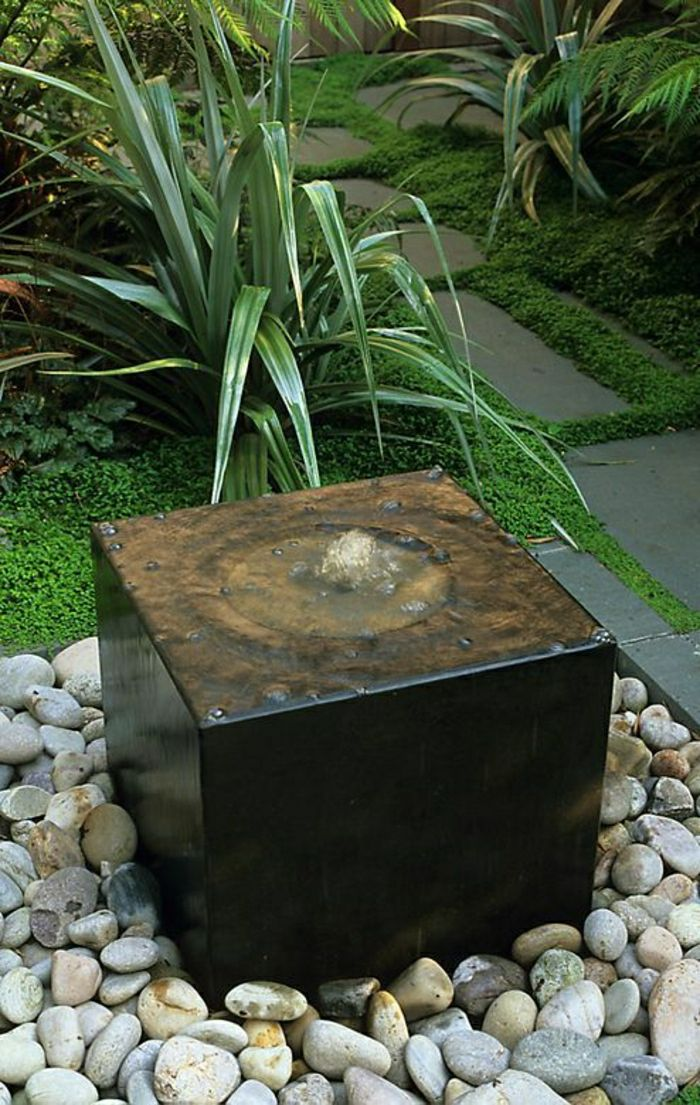 small garden fountain decorative stones green