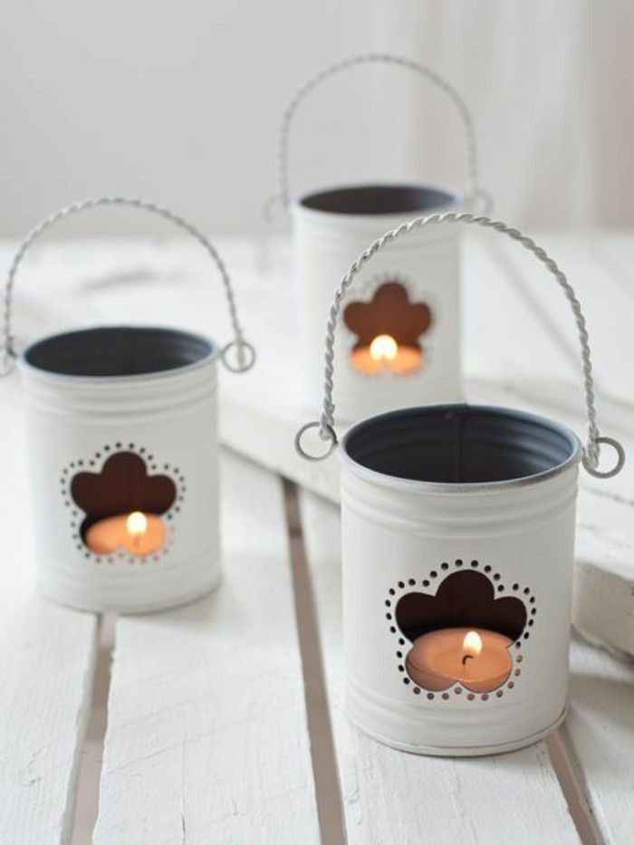 tin cans-deco-white-color-candlestick-candles-light-diy flowers